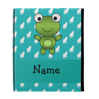 Personalized name baby frog turquoise cats pattern iPad folio cases