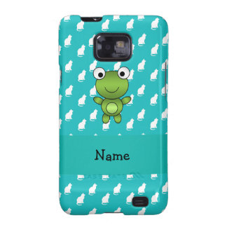 Personalized name baby frog turquoise cats pattern samsung galaxy SII case