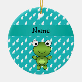 Personalized name baby frog turquoise cats pattern ceramic ornament