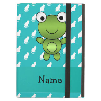 Personalized name baby frog turquoise cats pattern iPad case