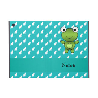 Personalized name baby frog turquoise cats pattern cover for iPad mini