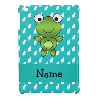 Personalized name baby frog turquoise cats pattern iPad mini covers