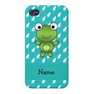Personalized name baby frog turquoise cats pattern iPhone 4 cases