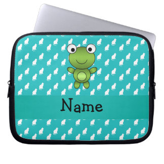 Personalized name baby frog turquoise cats pattern computer sleeves