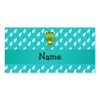 Personalized name baby frog turquoise cats pattern photo greeting card