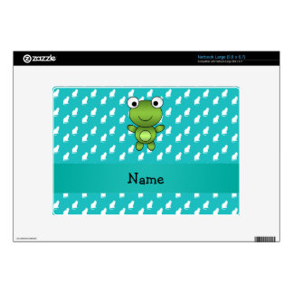 Personalized name baby frog turquoise cats pattern large netbook decals