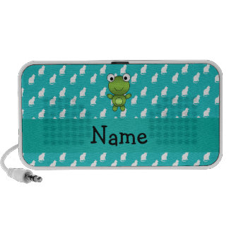 Personalized name baby frog turquoise cats pattern laptop speaker