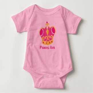 Personalized Name Baby Girl Princess Tiara Outfit Baby Bodysuit