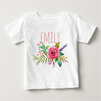 Personalized Name Baby Girl Watercolor Floral-2 Baby T-Shirt