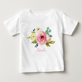 Personalized Name Baby Girl Watercolor Floral-4 Baby T-Shirt