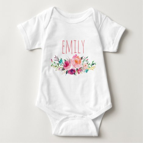 Personalized Name Baby Girl Watercolor Floral-5 Baby Bodysuit