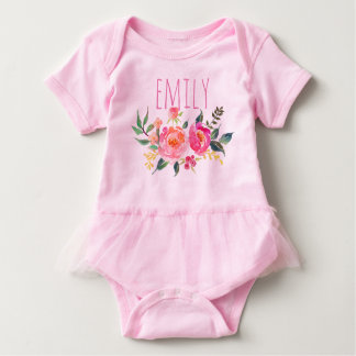 Personalized Name Baby Girl Watercolor Floral-7 Baby Bodysuit