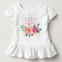Personalized Name Baby Girl Watercolor Floral-8 Toddler T-shirt