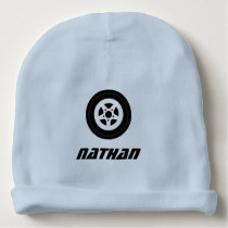 Personalized name baby hat with auto racing theme