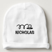 Personalized name baby hat with cute golf design