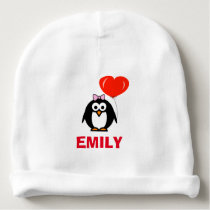 Personalized name baby hat with cute penguin girl