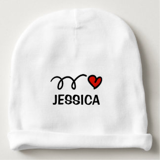 Personalized name baby hat with cute red heart