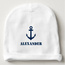 Personalized name baby hat with nautical anchor