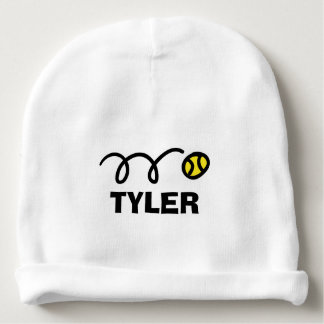 Personalized name baby hat with yellow tennis ball