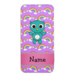 Personalized name baby owl purple rainbows