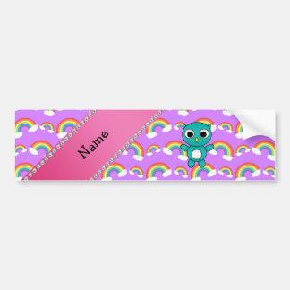 Personalized name baby owl purple rainbows car bumper sticker