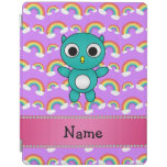 Personalized name baby owl purple rainbows iPad cover