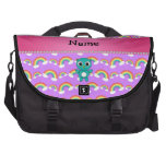 Personalized name baby owl purple rainbows laptop computer bag
