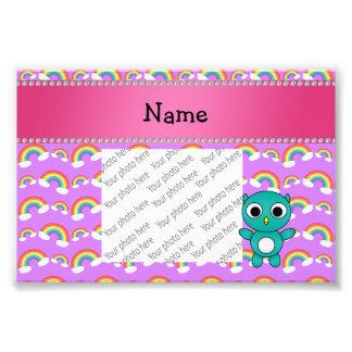 Personalized name baby owl purple rainbows photo art