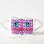 Personalized name baby owl purple rainbows couples mug