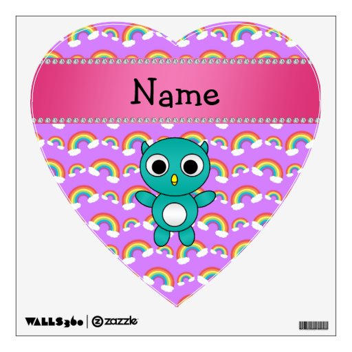 Personalized name baby owl purple rainbows room graphic