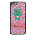 Personalized name baby owl purple rainbows carved® maple iPhone 6 slim case