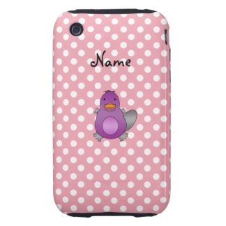 Personalized name baby platypus pink polka dots tough iPhone 3 cover