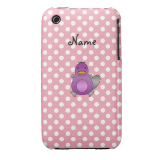 Personalized name baby platypus pink polka dots iPhone 3 cases