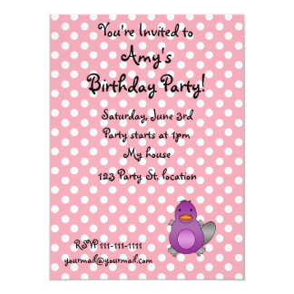 Personalized name baby platypus pink polka dots personalized invite