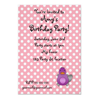 Personalized name baby platypus pink polka dots custom invite