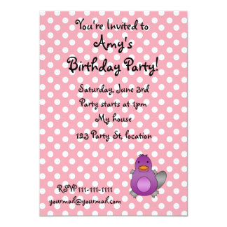 Personalized name baby platypus pink polka dots announcements