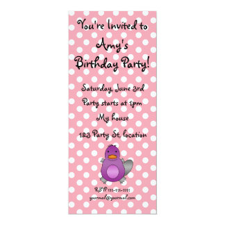 Personalized name baby platypus pink polka dots invites