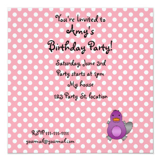 Personalized name baby platypus pink polka dots invite