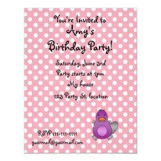 Personalized name baby platypus pink polka dots custom invitations