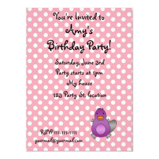 Personalized name baby platypus pink polka dots custom invitation