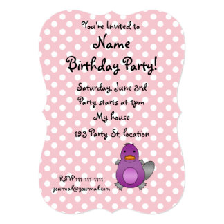 Personalized name baby platypus pink polka dots cards