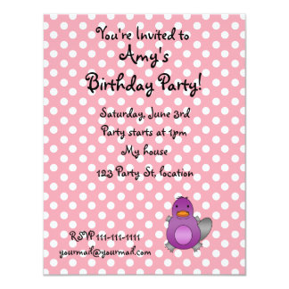 Personalized name baby platypus pink polka dots announcement