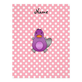 Personalized name baby platypus pink polka dots letterhead template