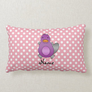 Personalized name baby platypus pink polka dots throw pillows