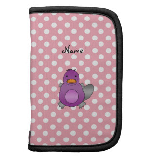 Personalized name baby platypus pink polka dots organizers