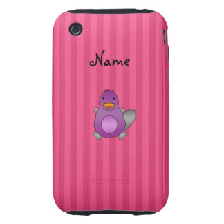 Personalized name baby platypus pink stripes tough iPhone 3 covers