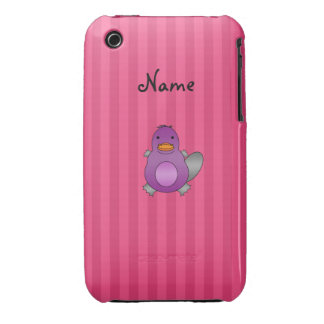 Personalized name baby platypus pink stripes iPhone 3 case