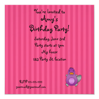 Personalized name baby platypus pink stripes announcements