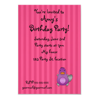 Personalized name baby platypus pink stripes invite