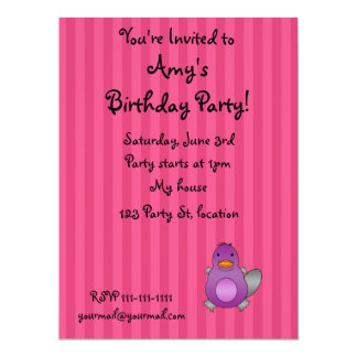 Personalized name baby platypus pink stripes custom invites